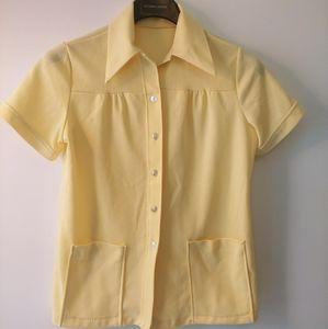 Vintage yellow short-sleeve button-down shirt M-L
